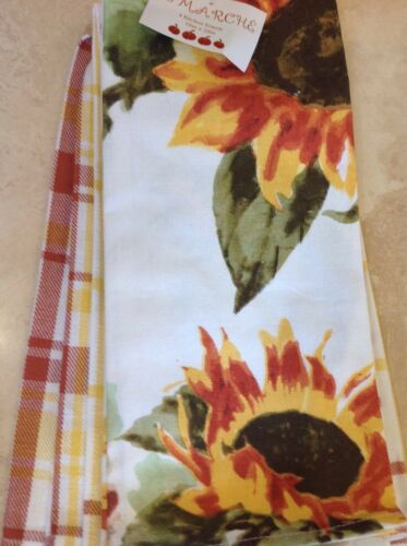 LE MARCHE KITCHEN TOWELS SUNFLOWERS  PLAID STRIPES WHITE GOLD GREEN  NWT 4