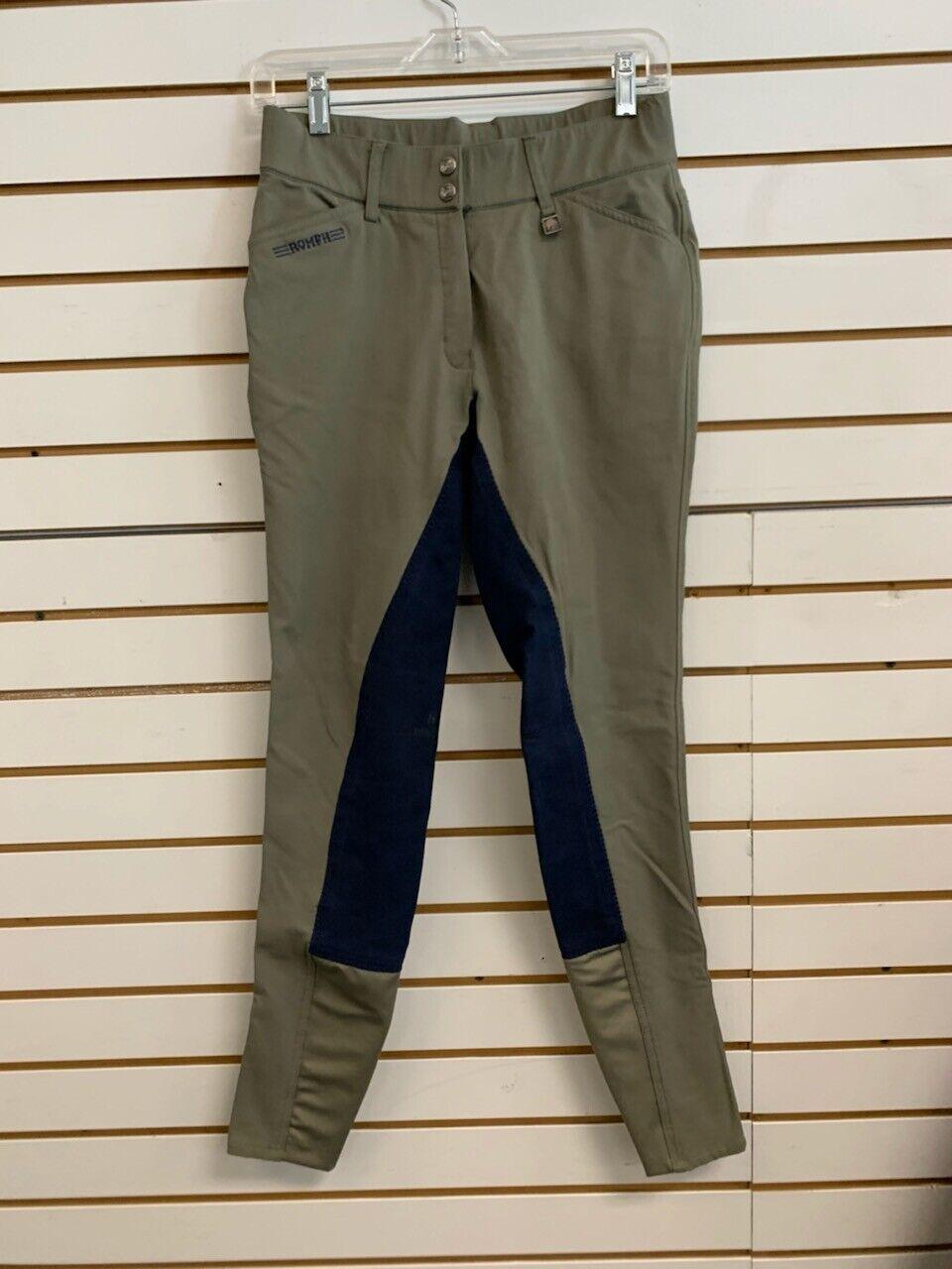 Pantalones de montar de asiento completo usado Romfh Sarafina-Tamaño  Damas 28  L EE. UU. - Oliva con Azul Marino