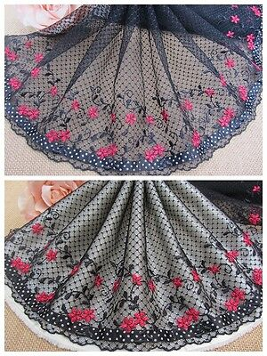 """8""""*1Y Embroidered Tulle Lace Trim~Black+Ruby Red~Who's Lolita~Sweet&Alluring~"""