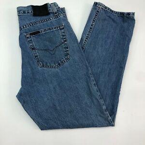 Harley-Davidson-Jeans-Mens-33X30-Blue-Regular-Fit-Straight-Leg-Medium-Washed