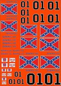 1-18 Scale Model Duke Of Hazard General Lee Style Exterior Vinyl Decals A4 Sheet