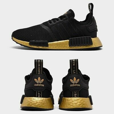 Adidas Nmd Runner R1 Casual Shoe Youth Black Gold Original New
