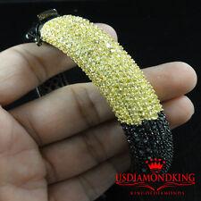 MEN'S 14K BLACK GOLD FINISH BLACK CANARY LAB DIAMOND CUFF BANGLE BRACELET NEW