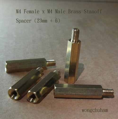 M4 Brass Standoff Spacer M4 Male x M4 Female 23mm 100 pcs