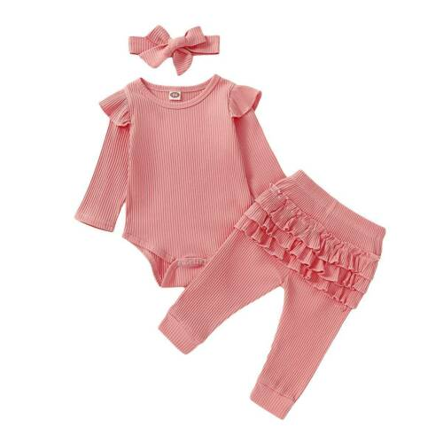 3PCS Infant Newborn Baby Girl Outfits Bodysuit Romper Ruffled Pants Clothes Set
