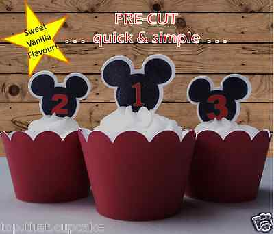 Mickey Mouse numbered ears Cupcake cake Toppers 1st 2nd 3rd birthday