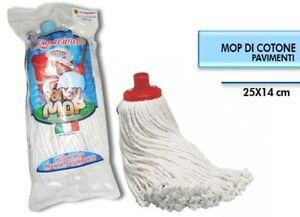 Mop-Cotone-Bianco-Super-Candido-Ricambio-Mocio-Lava-Pavimenti-Universale-dfh