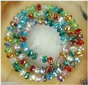 NEW-6x8mm-Multicolor-Crystal-Gemstone-loose-beads