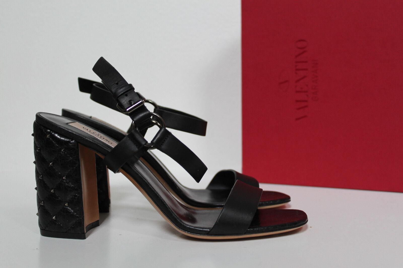 Sz 9.5   40 Valentino Black Rockstud Quilted Block Heel Ankle Strap Sandal shoes