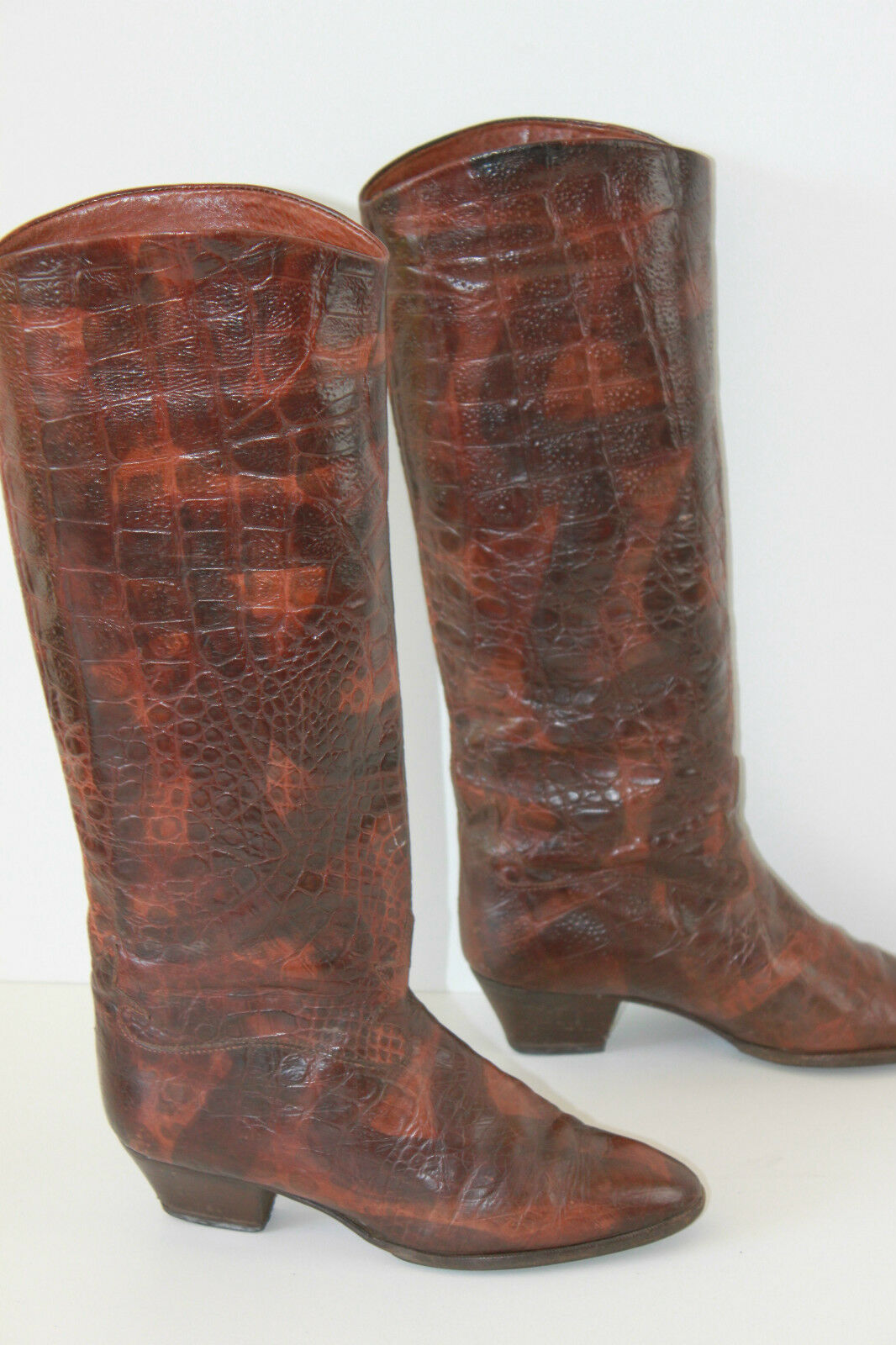 VINTAGE Boots SALMASO All Leather Way Reptile T 36.5 BE
