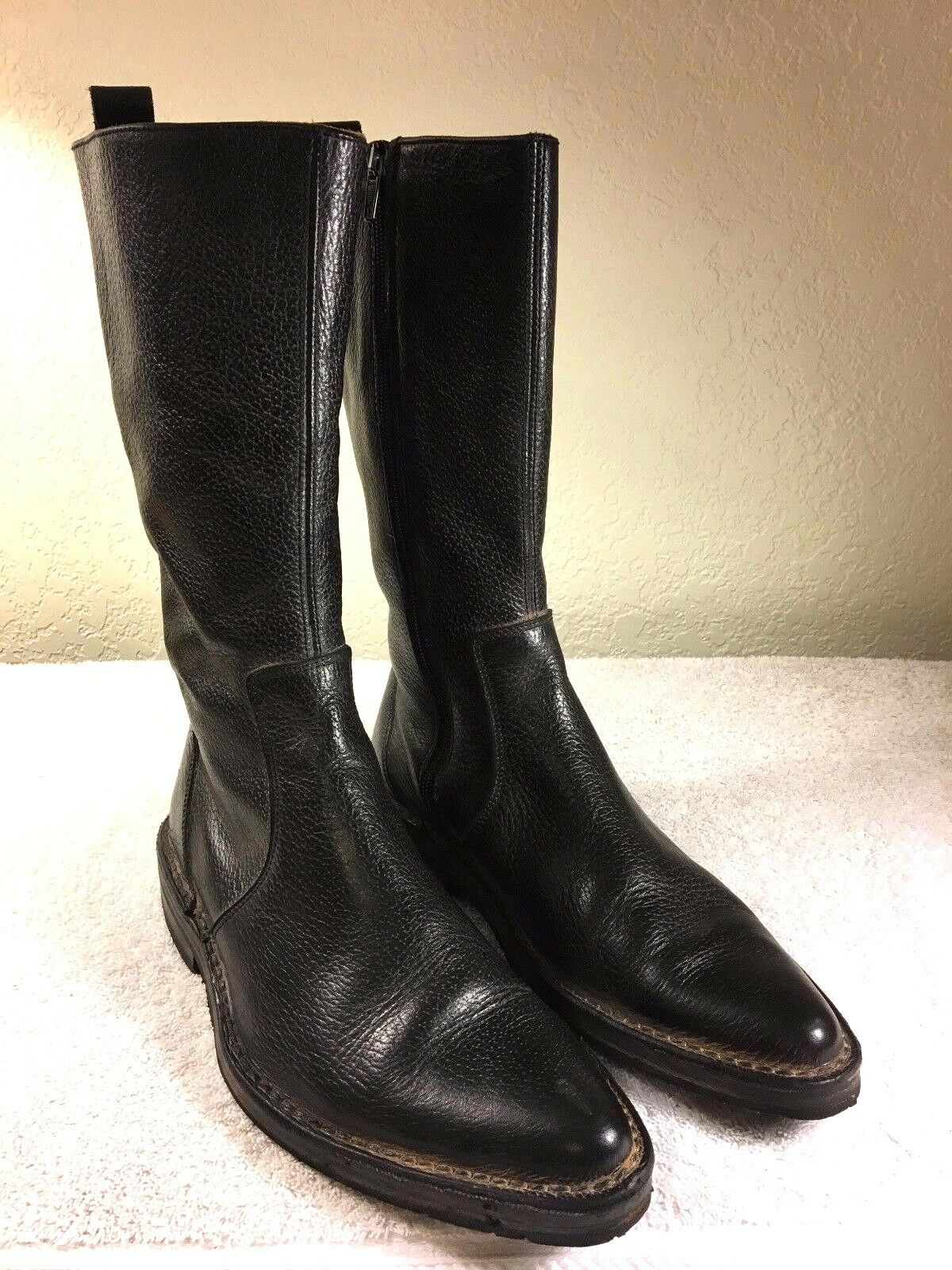 Iramo women's distressed black leather zipper in boots size 39 Made in zipper Italy df06b9