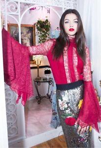 Olivia Alice Rot 0 Stehkragenoberteil Nwot Halsausschnitt Größe hohem Ivy mit AqxvCw4qd