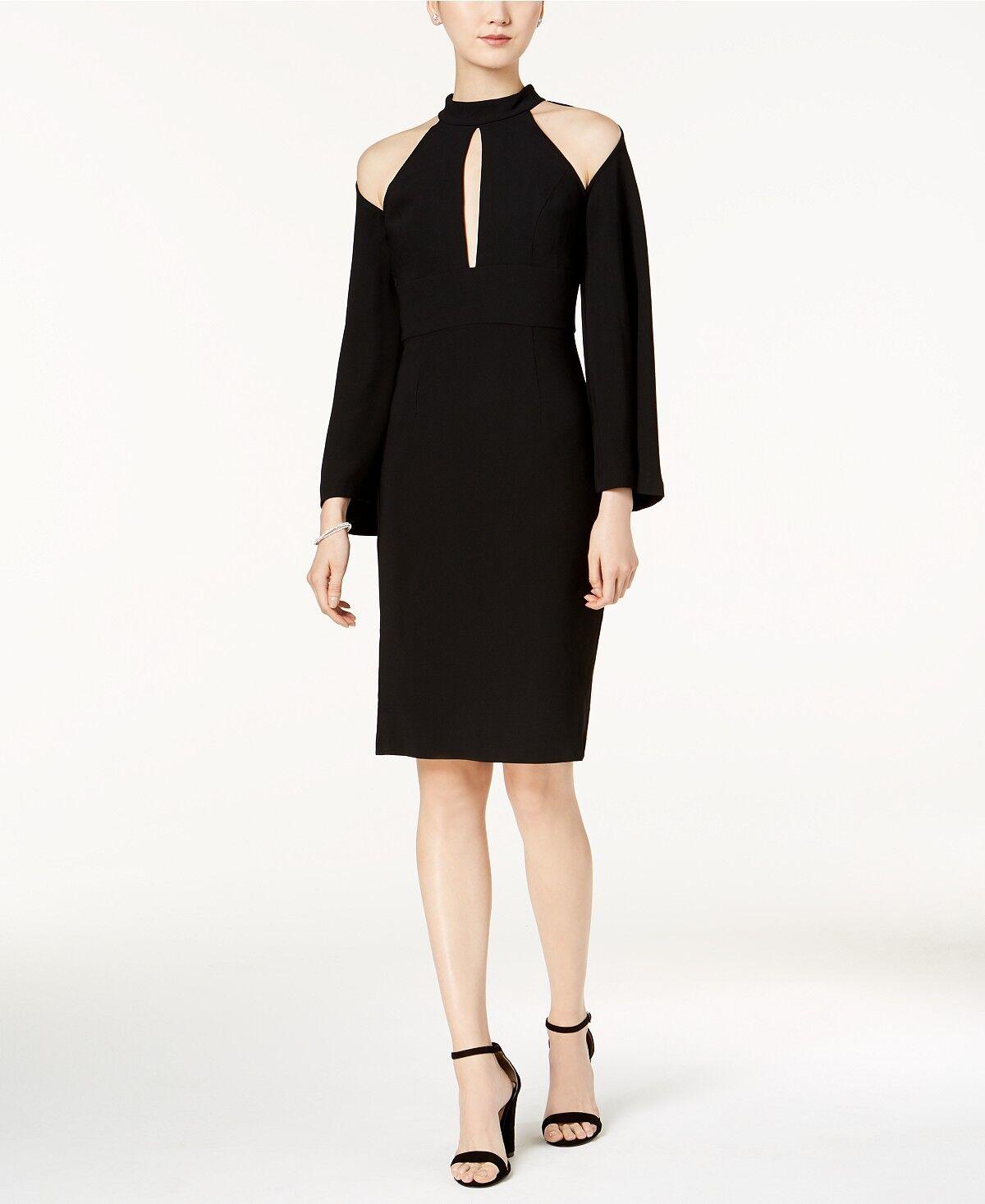 New Bardot Mock-Neck Cold-Shoulder Sheath Dress S schwarz