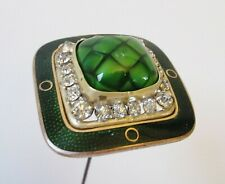 Antique Hatpin Green Quilted Turtle Back Glass Enamel Rhinestones