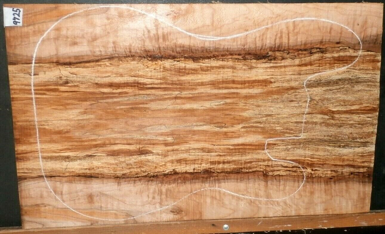 Flame Spalted Curly Maple Wood 9725 ARTIST GRADE 5A Solid Body Guitar Top set