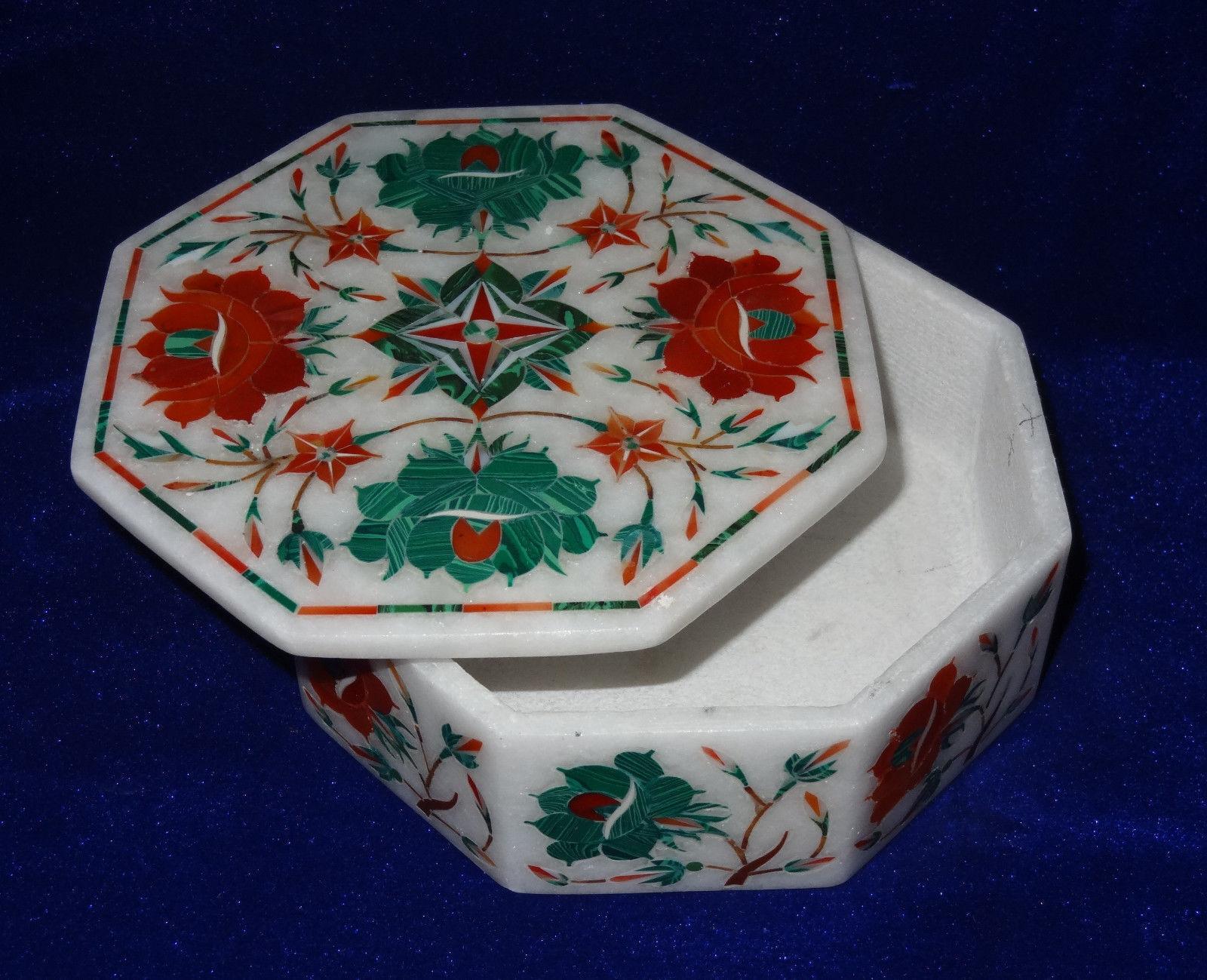 Marble jewelry Box  Inlay semi precious Stones art handmade work decor and gift