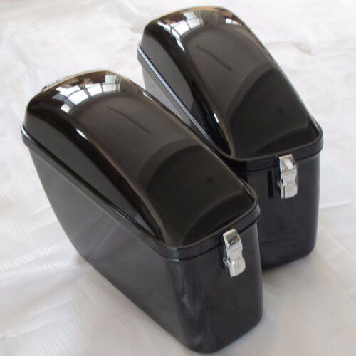 Black Hard Saddle bag side luggage Case Box Bags For Harley Honda Yamaha Cruiser