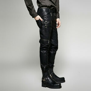 5c7402acad Punk Rave Men's Gothic Steampunk Rock Metal Fetish Leather Look ...
