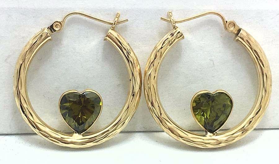 HEART Shaped Diamond Cut 3.12 Carats PERIDOT 10k Yellow gold Hoop EARRINGS