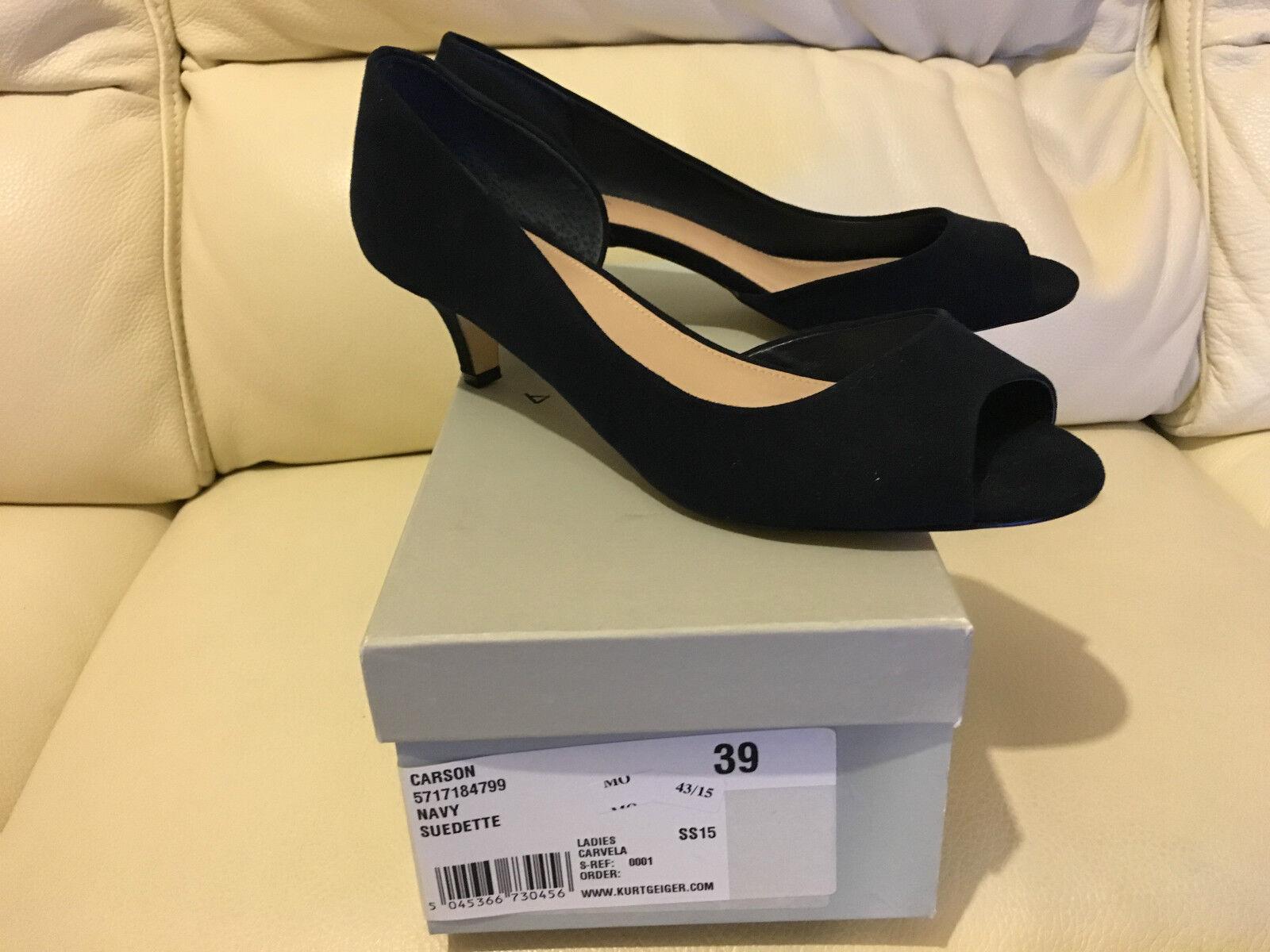 Kurt Geiger Ladies Carvela Carson Navy Suedette Heels shoes All Sizes NEW