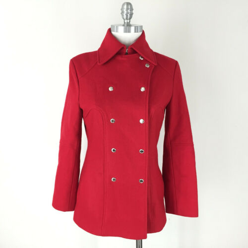 Guess S Red Wool Military Snap Coat peacoat Stunni