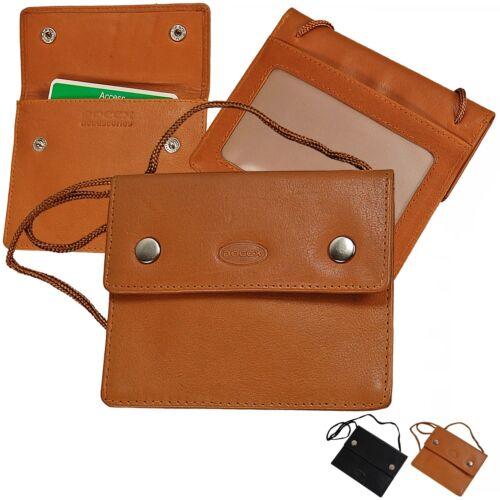 BOCCX kleiner Brustbeutel Leder Brusttasche Klarsichtfach Security Wallet 10018