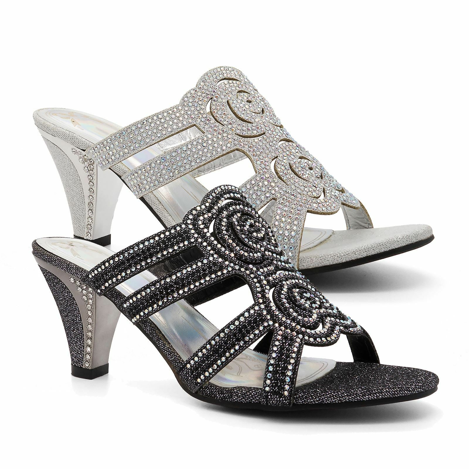 Womens Ladies Diamante Wedding Low Mid Heel Sandals Evening shoes Bridal UK Size