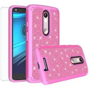 Motorola-DROID-Turbo-2-Case-XT1585-Glitter-Bling-w-HD-Screen-Protector-Cover