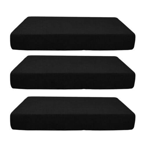 3pcs Sofa Seat Single Size Cushion Cover Stretch Spandex Slipcover Black
