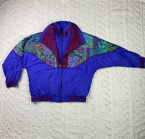 Vintage Lavon Women's Windbreaker Track Jacket Coat Size M 90s 80s Multi-Color
