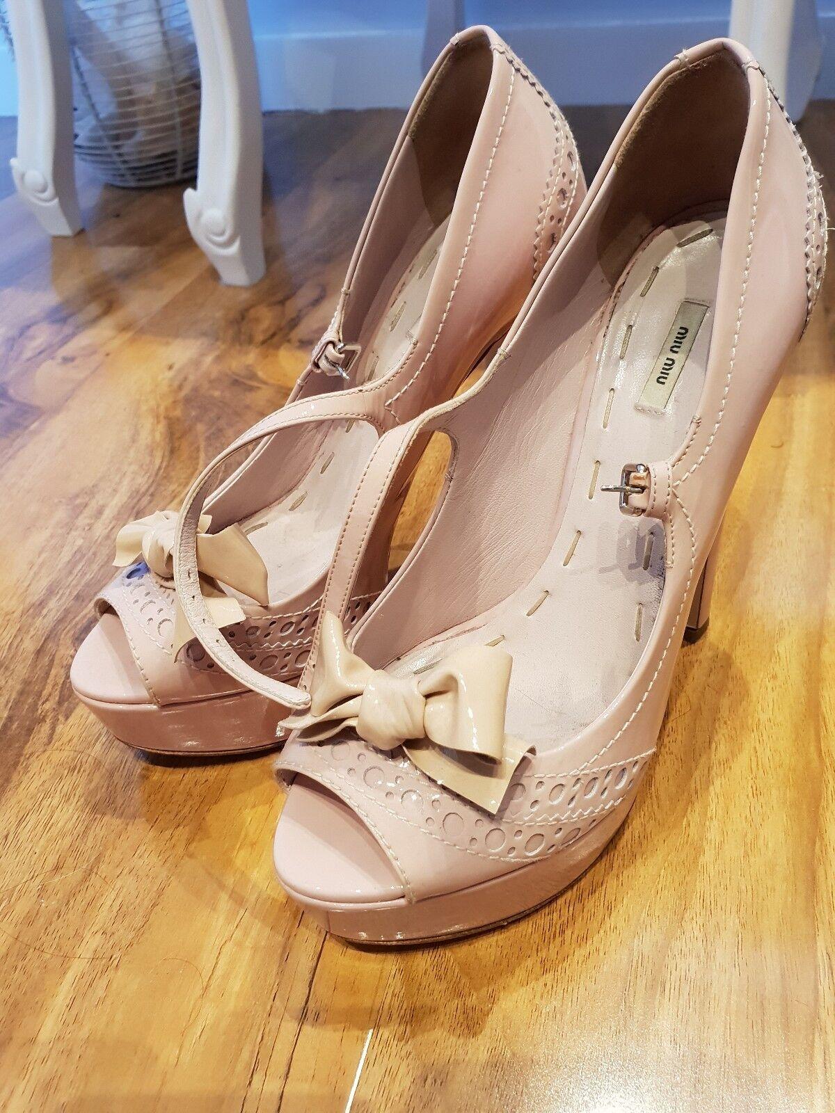 Miu miu patent peeptoe shoes size 37 uk 4