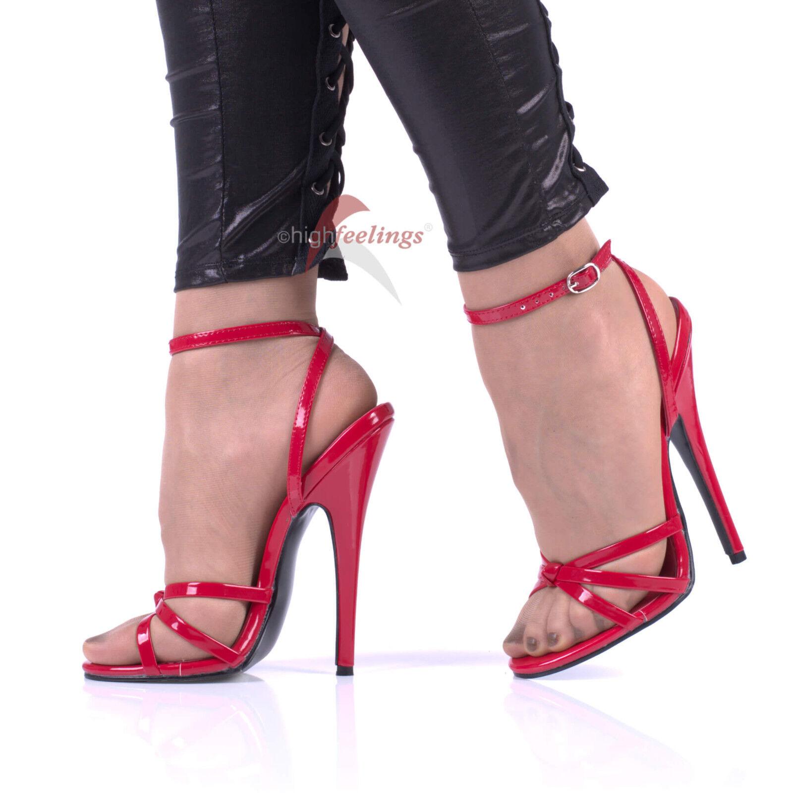 High Heels Riemchen Sandaleetten Rot Lack 13,5 - 16 cm Absatz Größe EUR 37 - 47