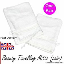 Towelling Mitts PAIR WHITE Luxury Face Body Massage Manicure Beauty Spa Therapy