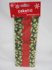 New Christmas Cake Frill AHX70 Green With Gold Holly And Red Centre