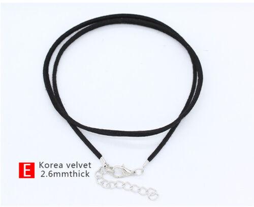 20 Caoutchouc Cuir Cire corde tressée collier tour de cou Cordon Homard Fermoir de Chaîne 43 cm