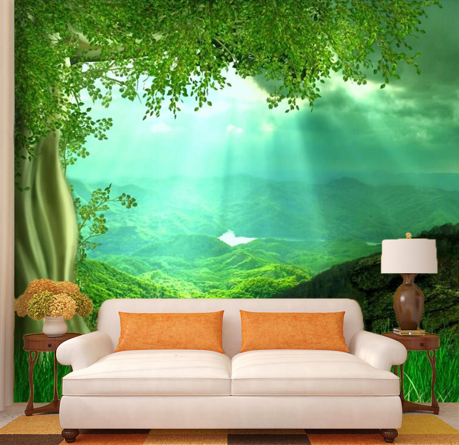 3D Sunlight Green Tree Nature 3 Wall Paper Wall Print Decal Wall AJ WALLPAPER CA
