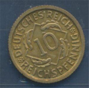 German-Empire-Jagerno-317-1930-D-ext-fine-10-reich-pfennig-spikes-7879588