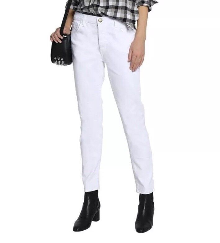 Current Elliot Womens Skinny Mid Rise Denim White Jeans - Size 27 Button Fly