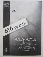9/1946 PUB ROLLS-ROYCE DERWENT GLOSTER METEOR RAF WORLD SPEED RECORD 616 MPH AD