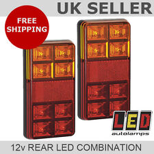 Pair 12v Rectangle Rear LED Trailer Lights  *3 YEAR WNTY* Stop/Tail/Indicator