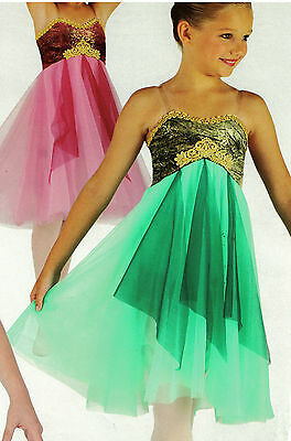 NWT LYRICAL BALLET DANCE COSTUME ch/Ad Chiffon Flyers Gold Braid Green clearstrp