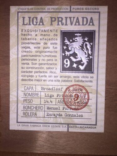 Drew Estate Liga Privada No.9 CORONA DOBLE Wood Cigar Box Humidor from Nicaragua