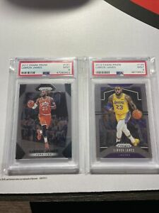 2017 & 2019 Panini Prizm LeBron James #191 & #129 Base Cavs & Lakers PSA 9 Mint