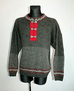 Mens-NORWOOL-NORWAY-Nordic-Pure-WOOL-Cardigan-Jumper-Fair-isle-Knit-Blue-Size-M