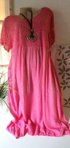 Damenkleid Sommerkleid Strandkleid Netzarm Uni Pink  Emely 48 50-52 Italy