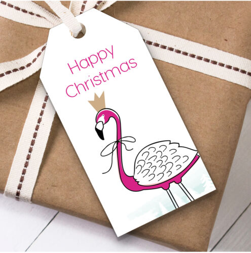 Present Favor Labels Bright Pink Flamingo Christmas Gift Tags