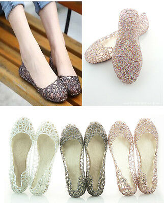 Womens Crystal Slip On Shoes Soft Rubber Flats Ballet jelly Sandals Flip Flop