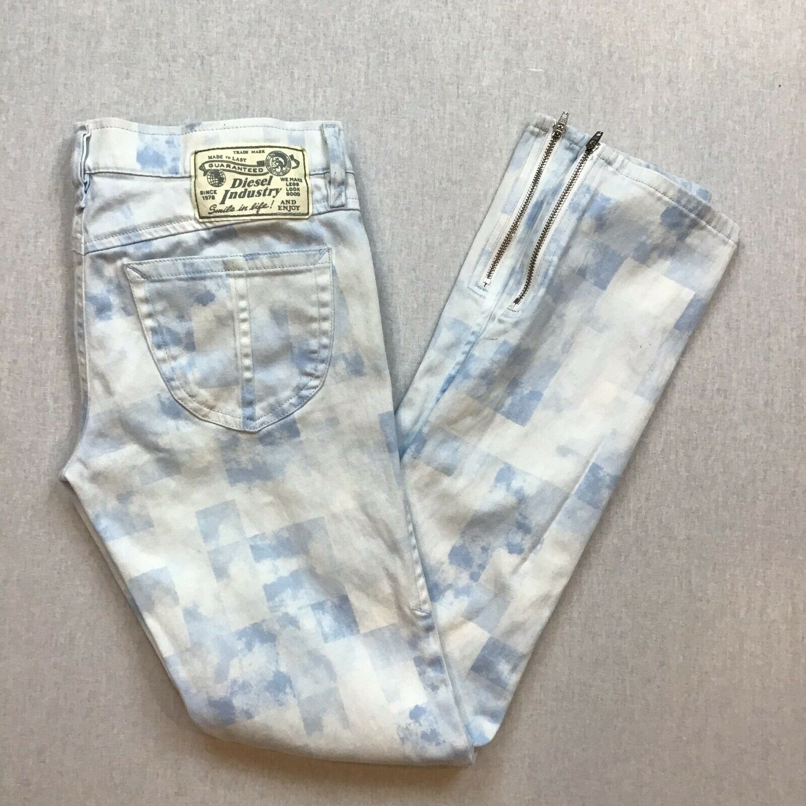 Diesel Jeans Size 28 Zivy Diesel Sample Jeans bluee and White Printed Jeans