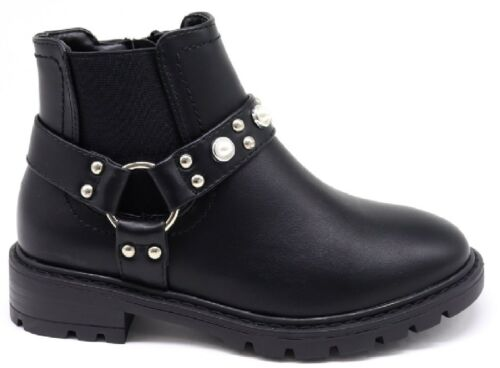 KIDS STUDS ZIP GIRLS CHILDRENS ANKLE DEALER CHELSEA FLAT WINTER SHOES BOOTS SIZE
