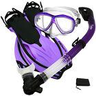NEW Snorkeling Purge Mask Dry Snorkel Fins Dive Gear Bag Package Set
